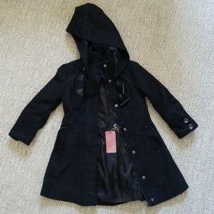 Size 3T hooded black overcoat